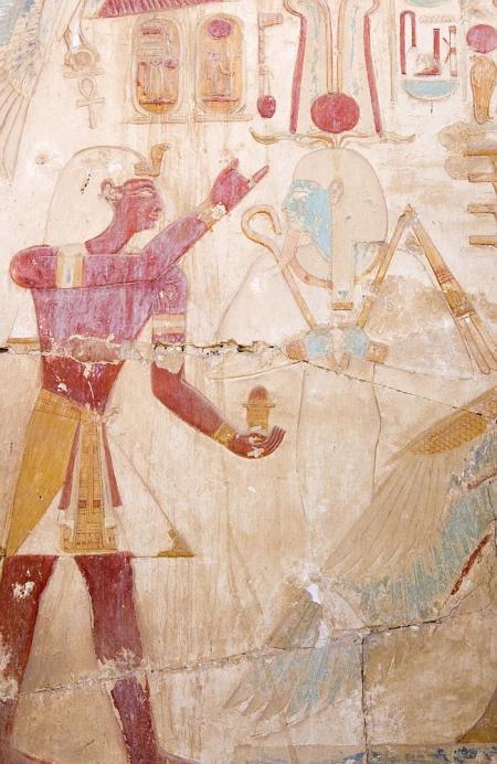 Pharoh Ramses worships Osiris